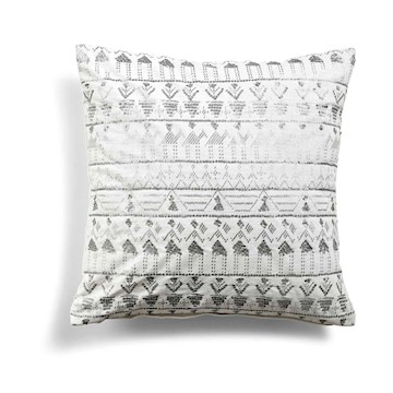 Day Ethenic Foil Cushion Cover, White 50x50cm