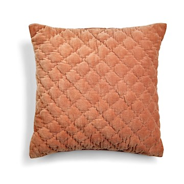 Day Velvet Quilted Cushion Cover, Nut, 50x50cm